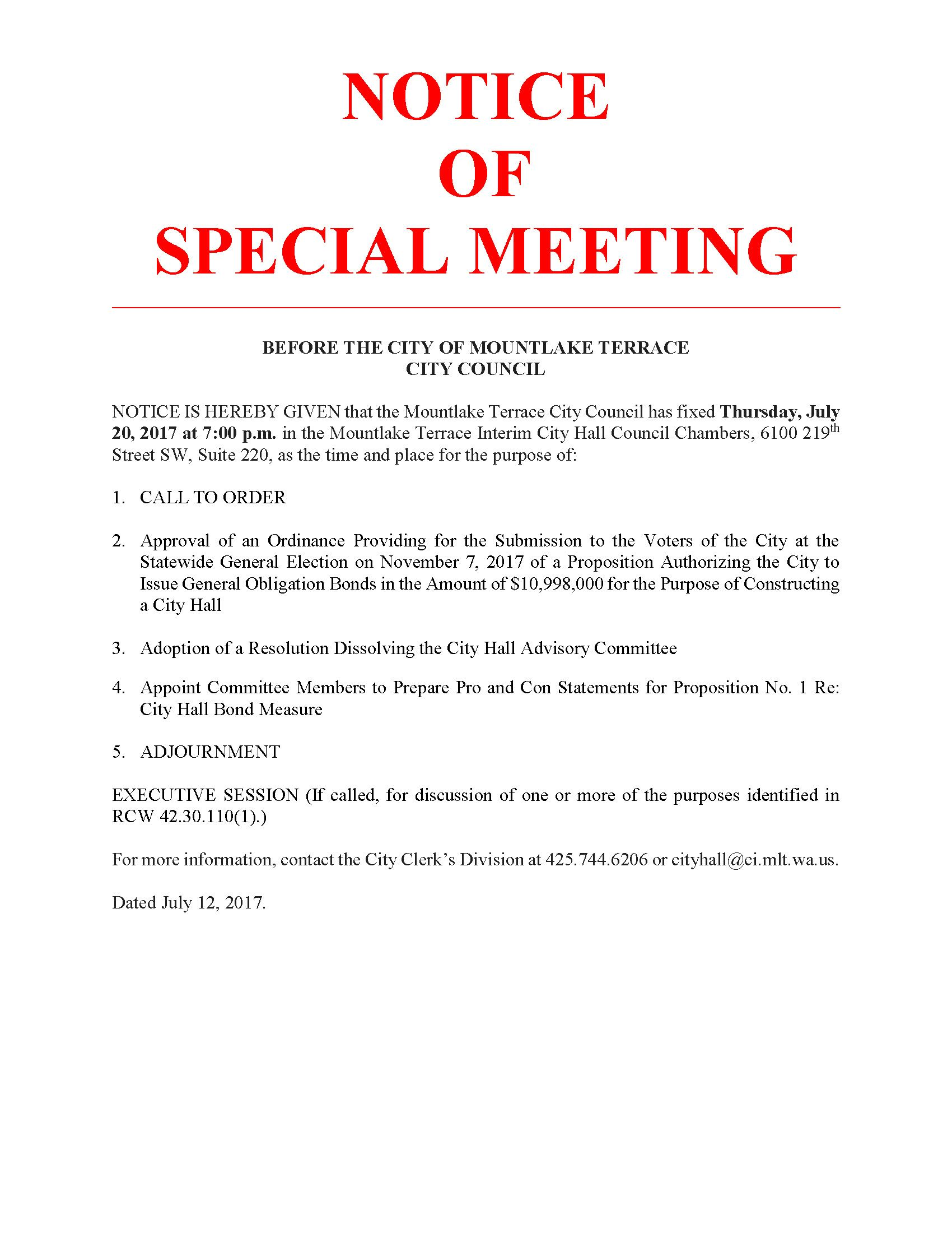 Special Meeting Notice, July 20, 2017