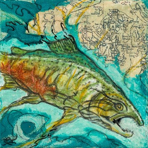 Mixed Media Work Divng Deep-By Lori Knight Depicts a Colorful Salmon in Water