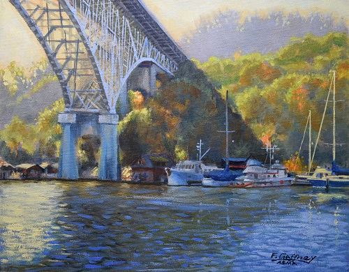 Auroras Shadow Painting of Aurora Bridge by Frank Gaffney