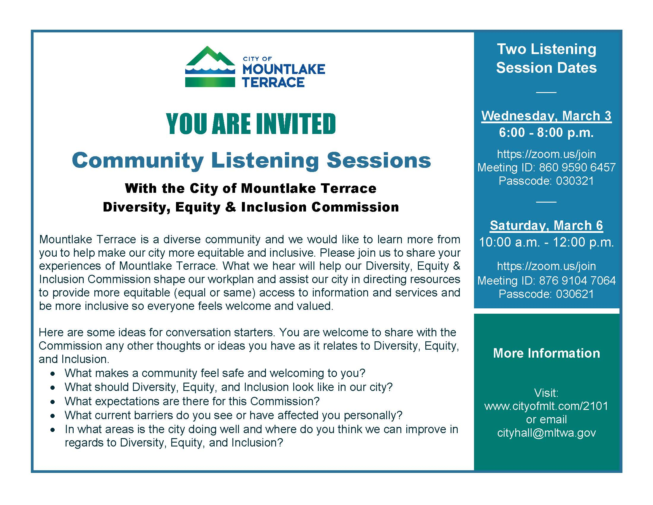 Postcard announcing listening sessions about diversity, equity and inclusion