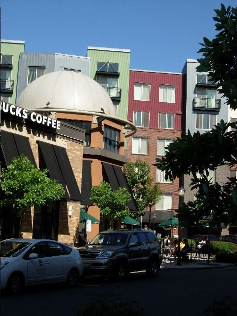Starbucks and apartments