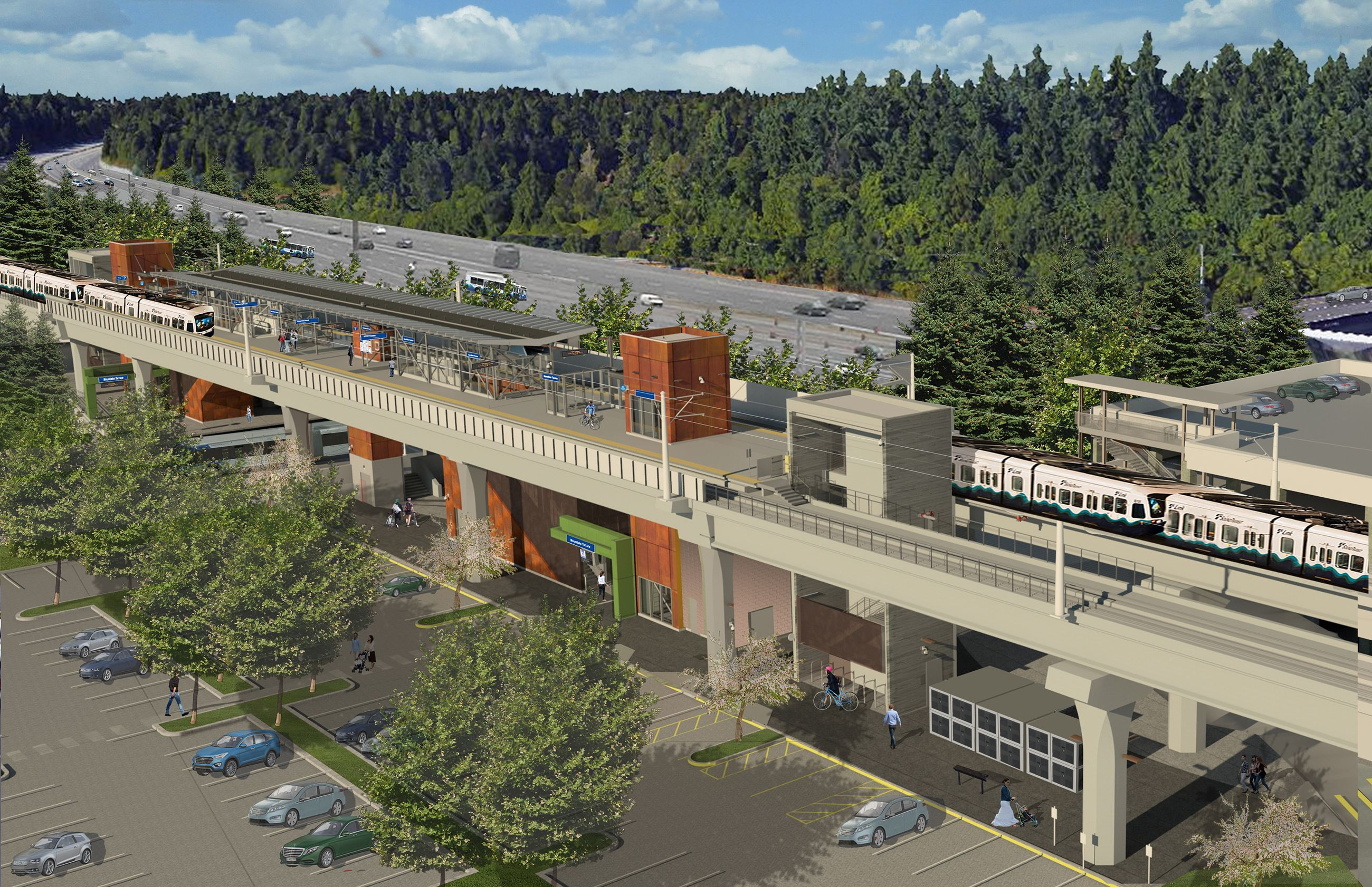 Digital rendering of Sound Transit Light Rail Station