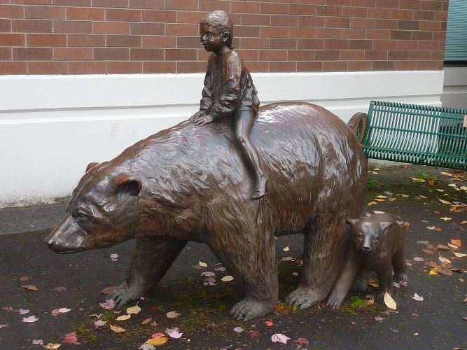 The Traveler 1988 Georgia Gerber - Child Riding a Bear