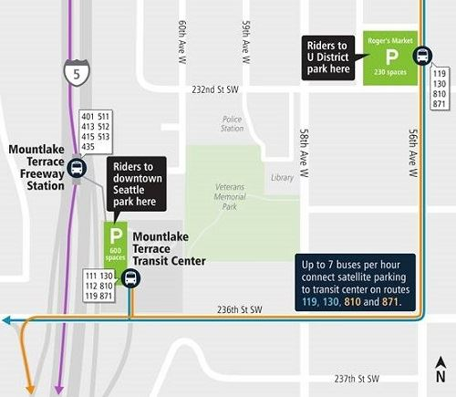 Sound Transit Parking Map Showing Interim Parking at 56th Ave W and 232nd St