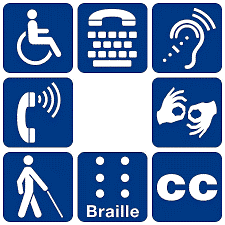 ADA Symbol in Navy Blue with Eight Icons of Disabilities