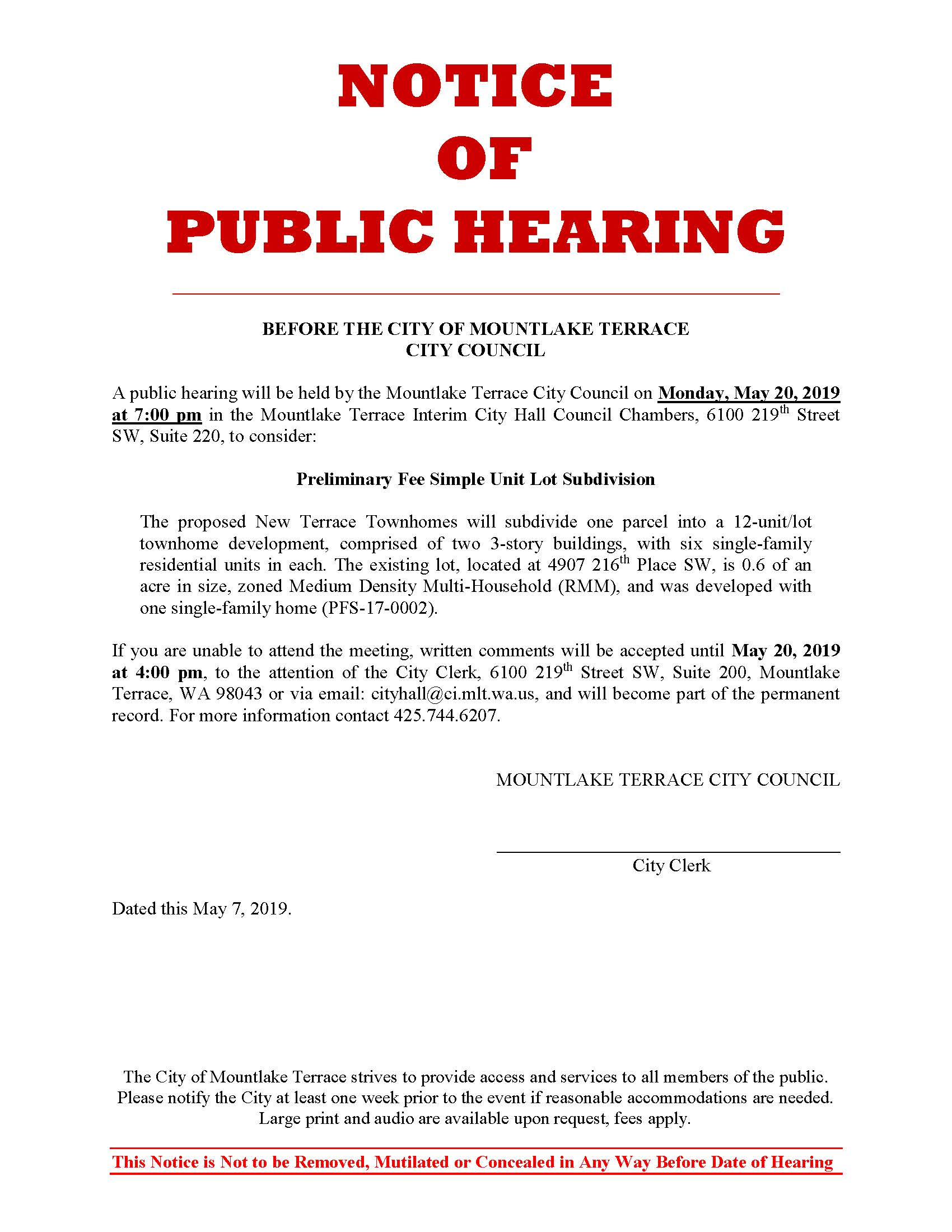 Public Hearing Template