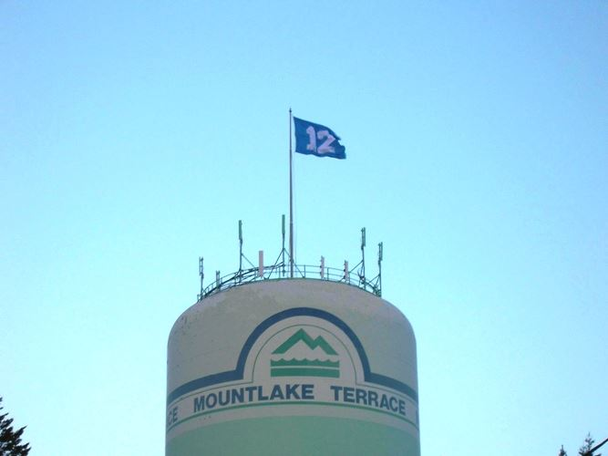 Water Tower w 12th Man Flag