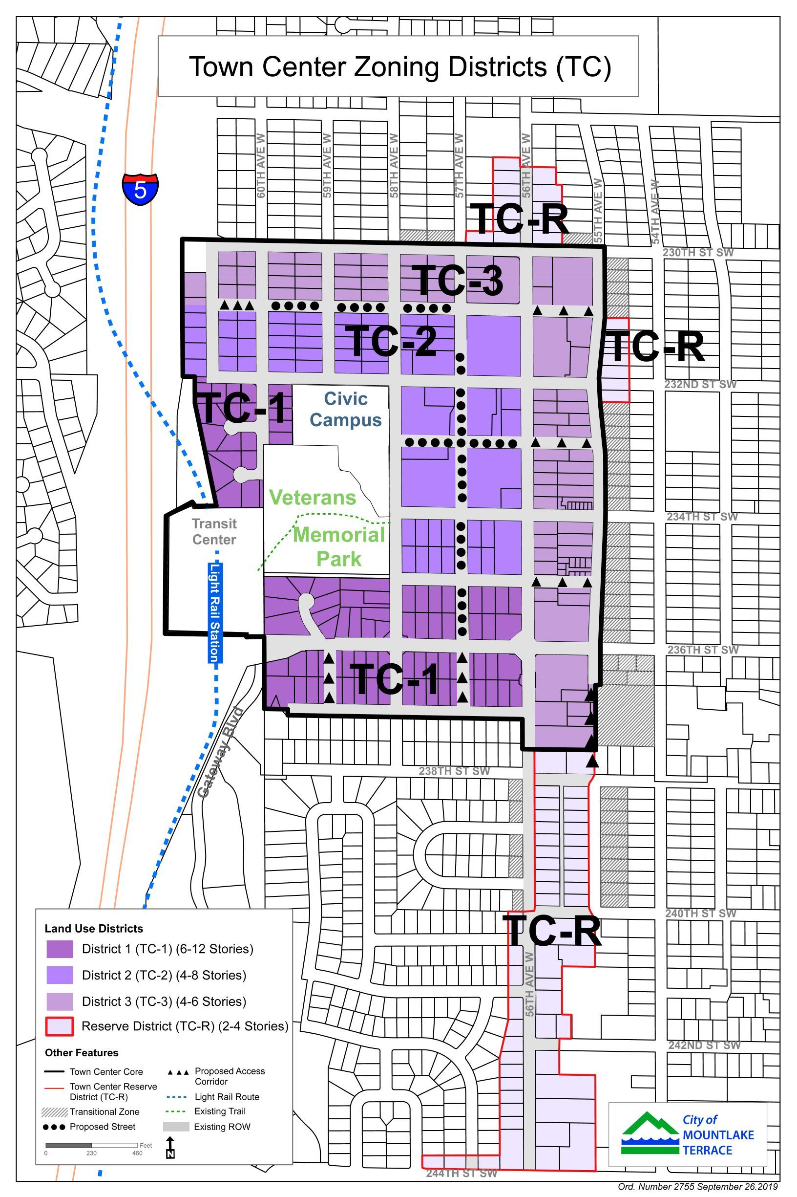 2019 Town Center Zoning Districts Map