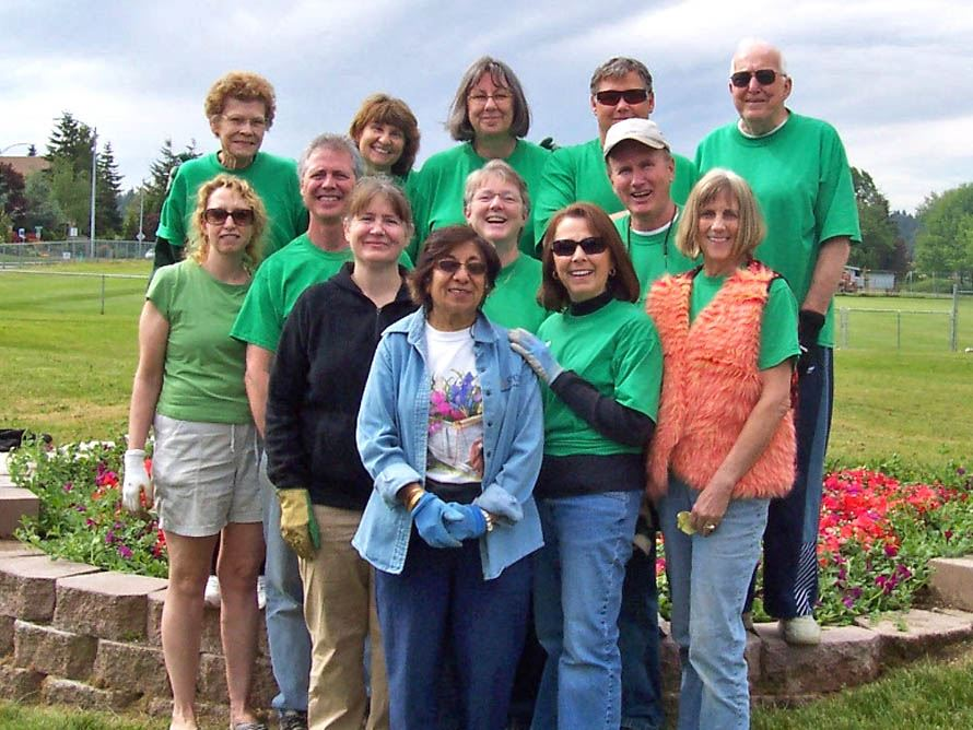 Members of the Garden Club at the Ballinger Play Field site.