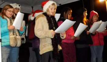 Singing Christmas Carols at the 2012 Tree Lighting Ceremony.